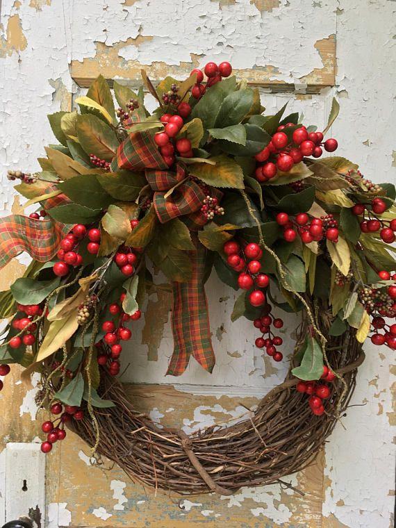 Fall Wreath for Front Door Autumn Wreath Rustic Wreath