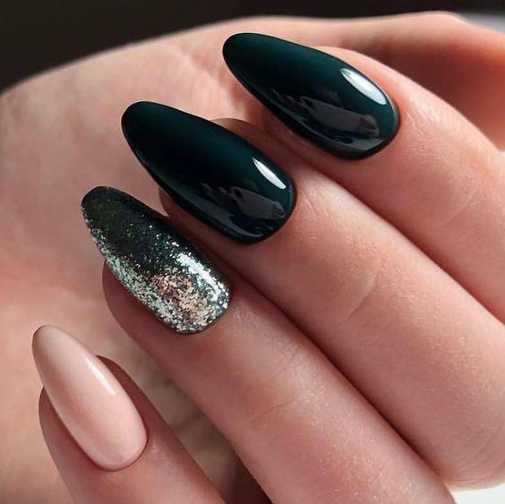 Photo of 36 Pretty, trendy autumn nails; Coffin nails; Gel nail drop; short green nails;