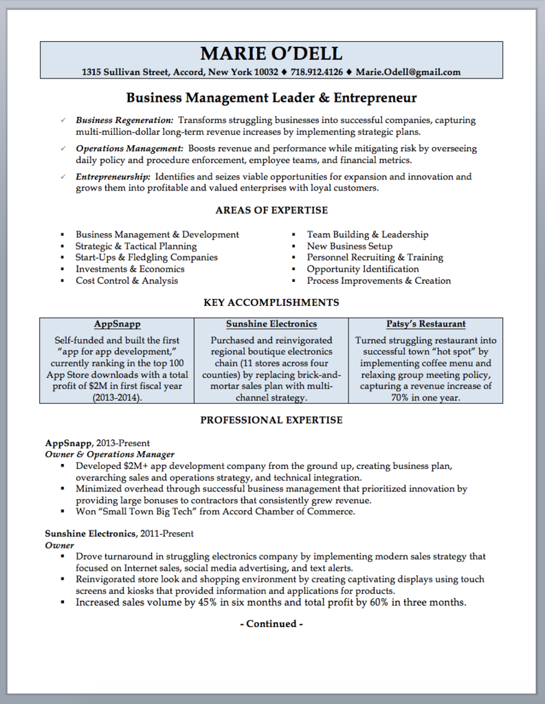 Business Owner Resume Sample and Writing Guide Guided