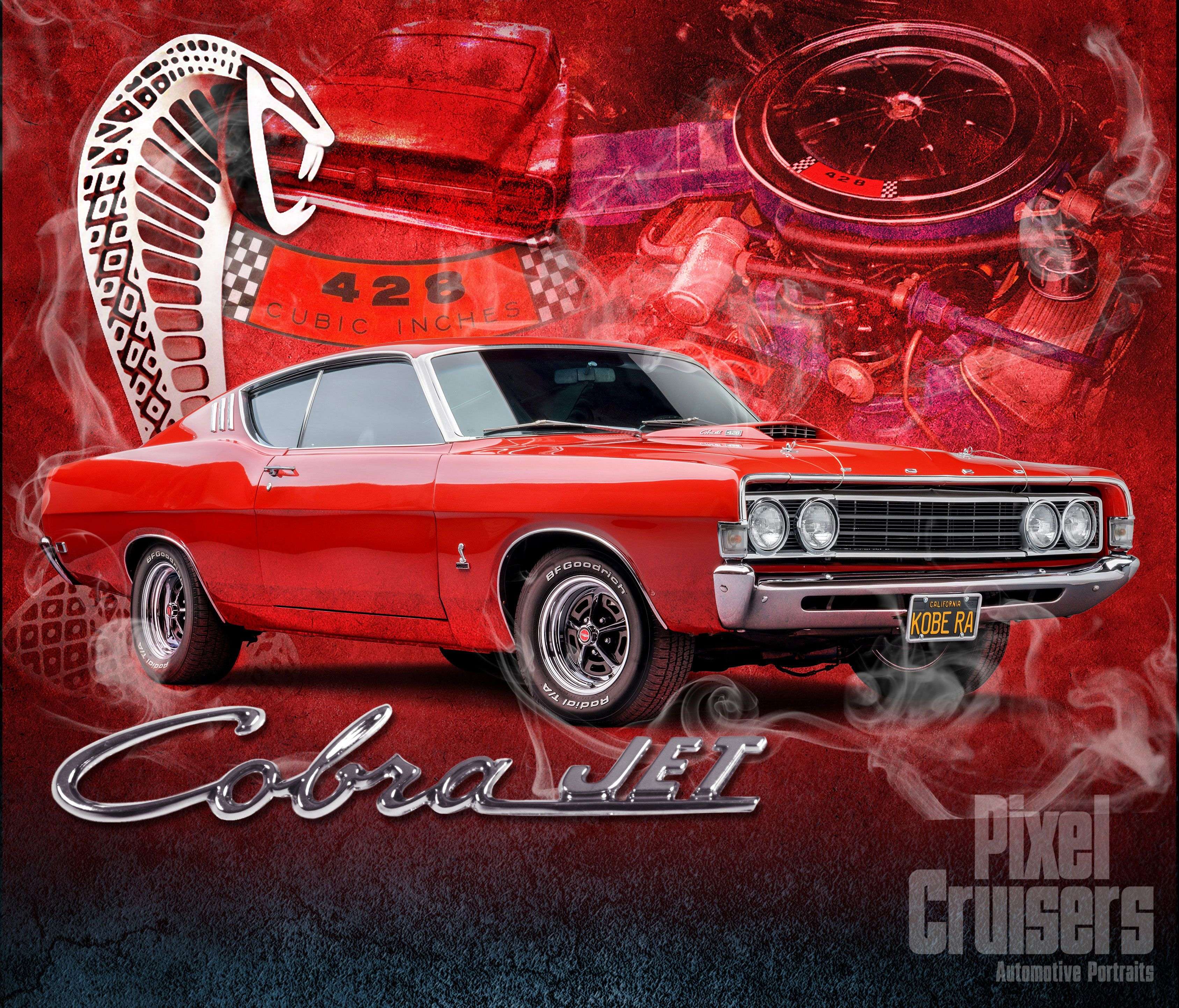 "ford grand torino cobra jet ""american muscle"" calendar page from the"