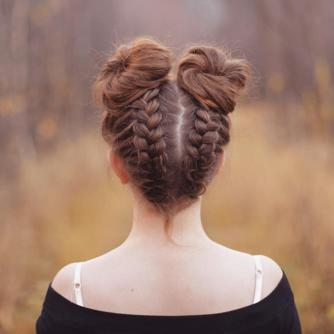 Dutch Braids Into Space Buns Back To School Hairstyles Hair Styles Braided Hairstyles
