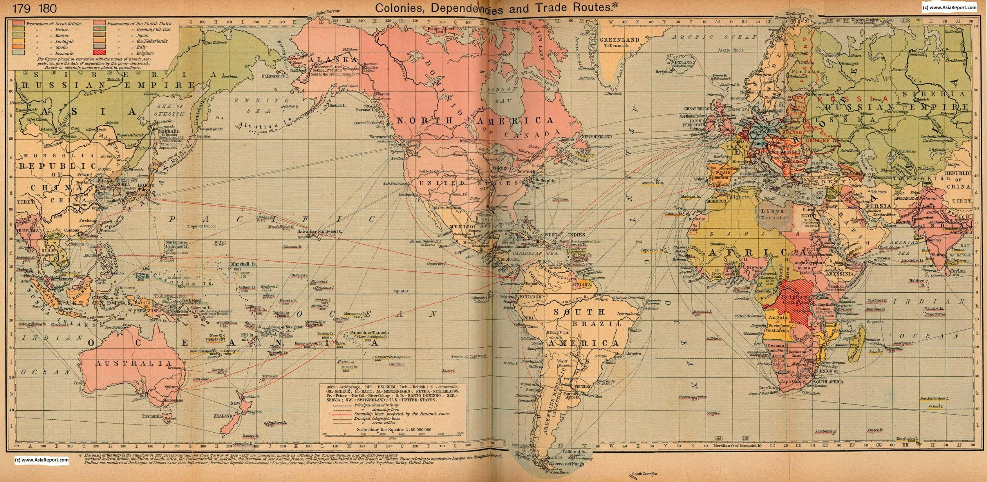 map asia history colonialism world colonial possessions 1912 ad 1918 ad