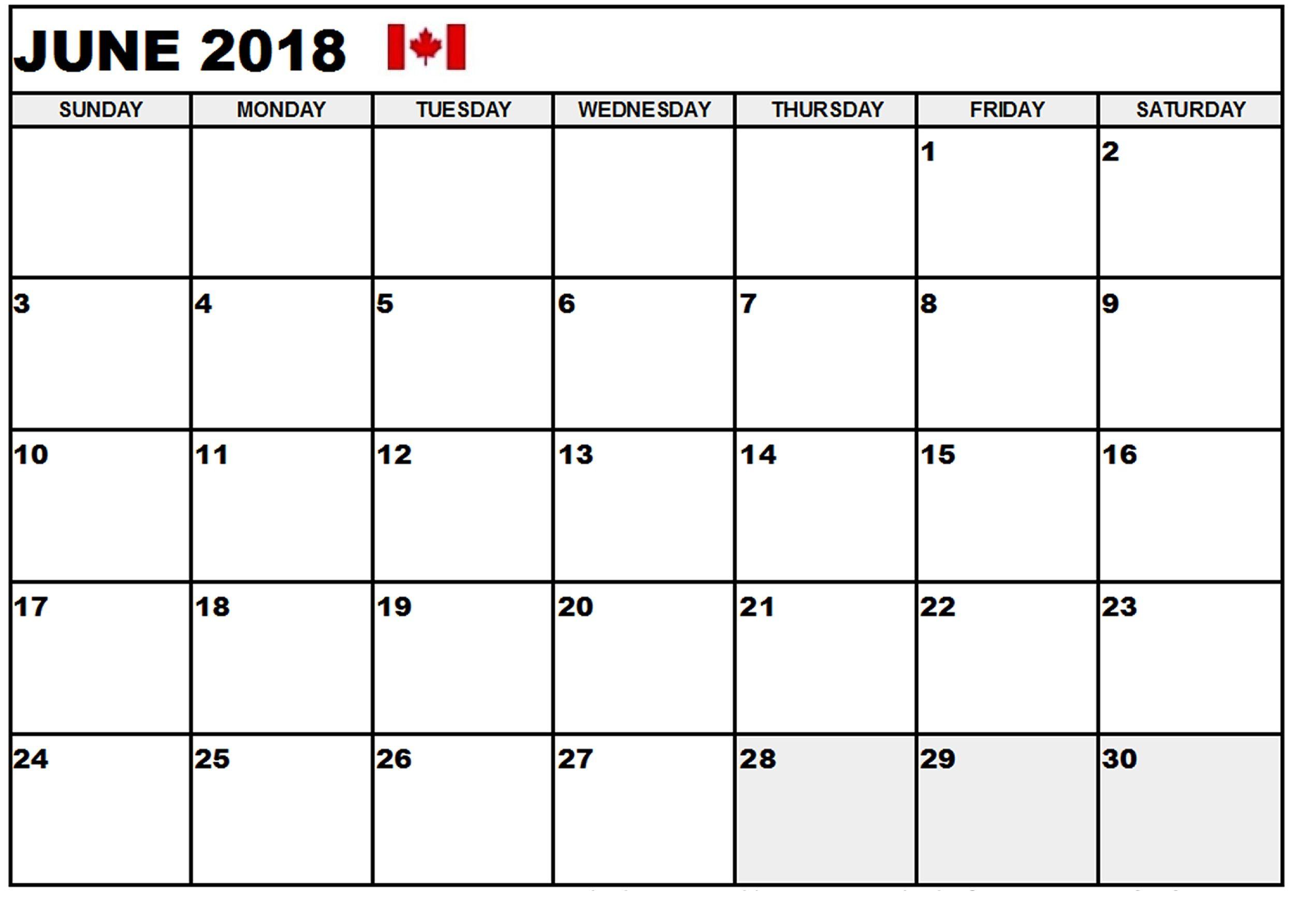 June 2018 Calendar Canada Calendar Canada June