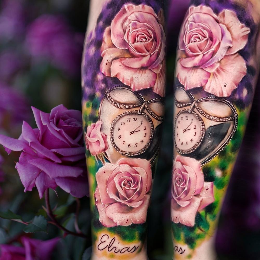 Colorful natural flowral rose tattoo. #crosstattoo #tattoo #tattoos #cross #ink #blackandgreytattoo #Award-winningTattoos, #tattooart #tattooartist #inked #tattooed #rosetattoo #tattooer #Award-winningTattoos,