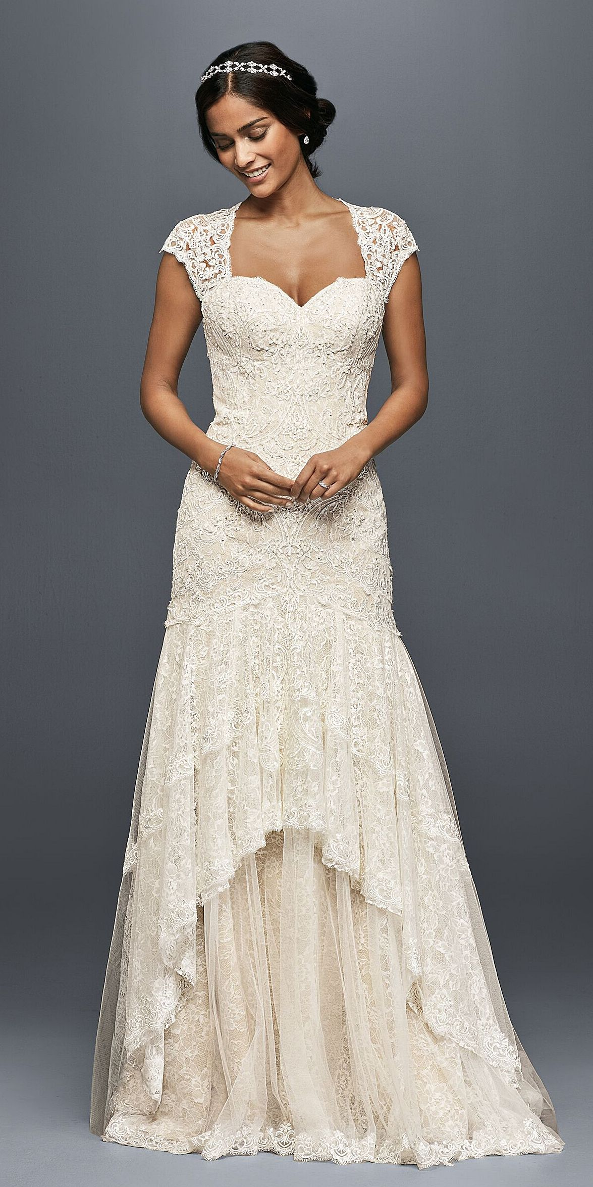 Tiered lace mermaid wedding dress with beading david 39 s for Lace wedding dress davids bridal