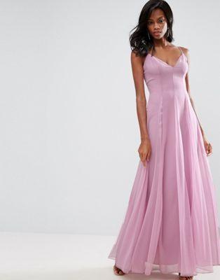 ASOS Cami Strap Mesh Fit and Flare Maxi Dress | Bridesmaid Dress ...