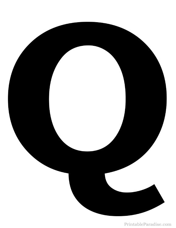 Printable Solid Black Letter Q