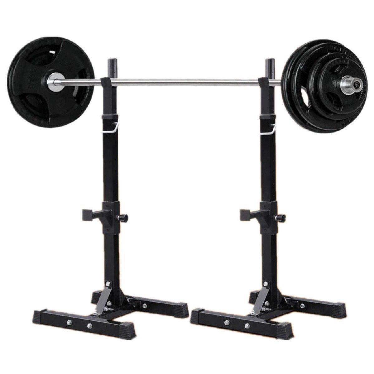 2 Adjustable Solid Steel Squat Barbell Stand Rack Free Press Bench Gym Pair Work Out Wear Squat Stands Squats Best Treadmill For Home