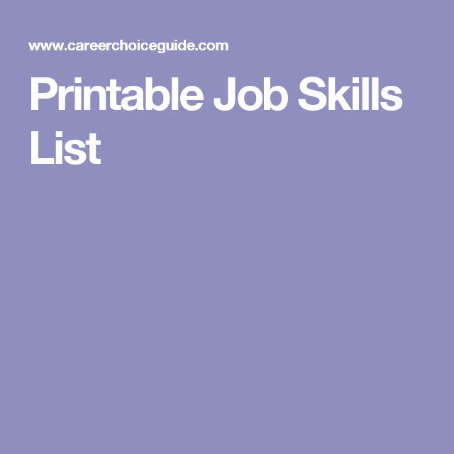 Skills List Printable Job Skills List  Career Ready Job Application Skills .