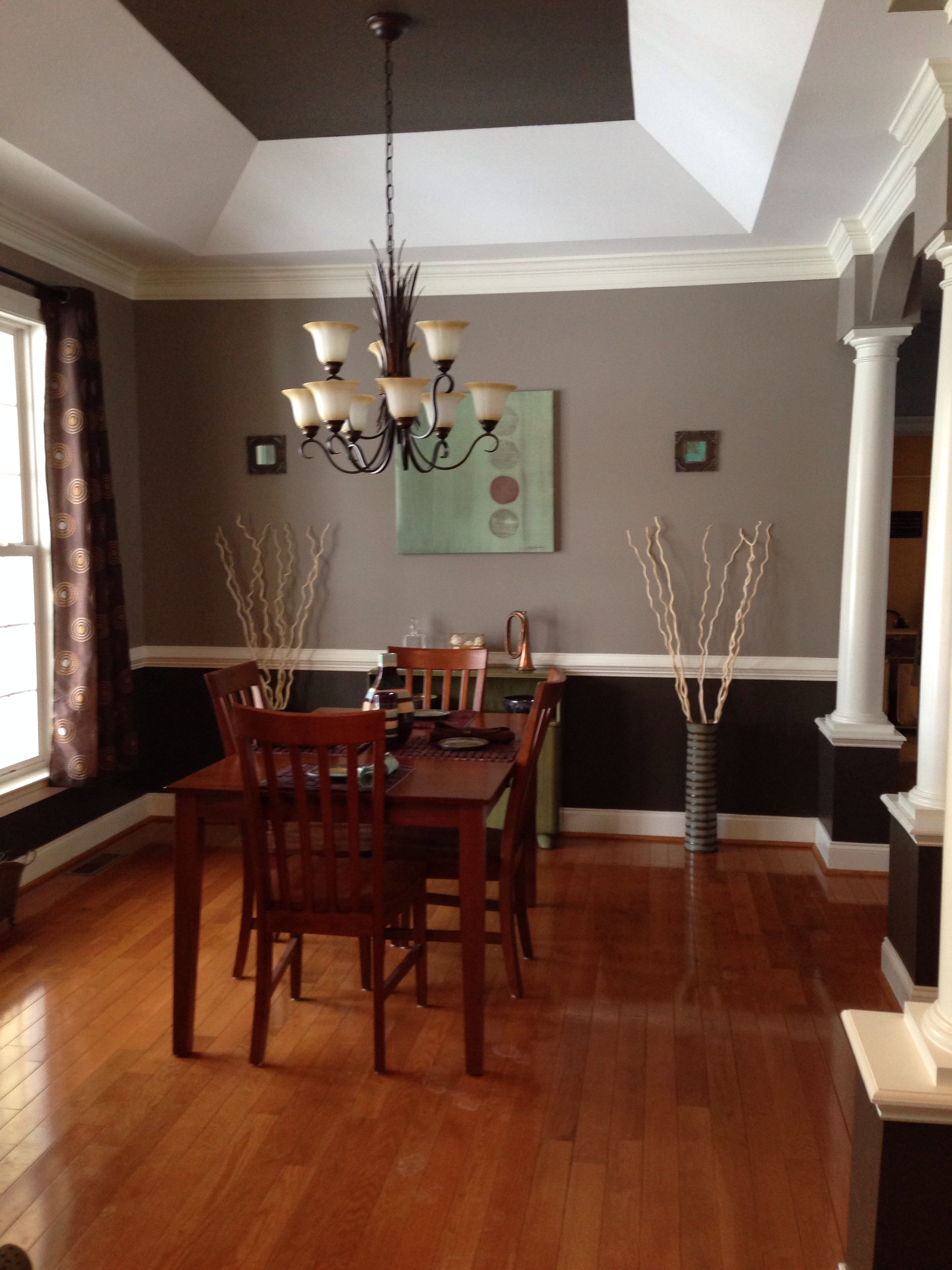 Our Dining Room Color Valspar Coastal Villa On Top Italian Leather Under Rail And Ceiling