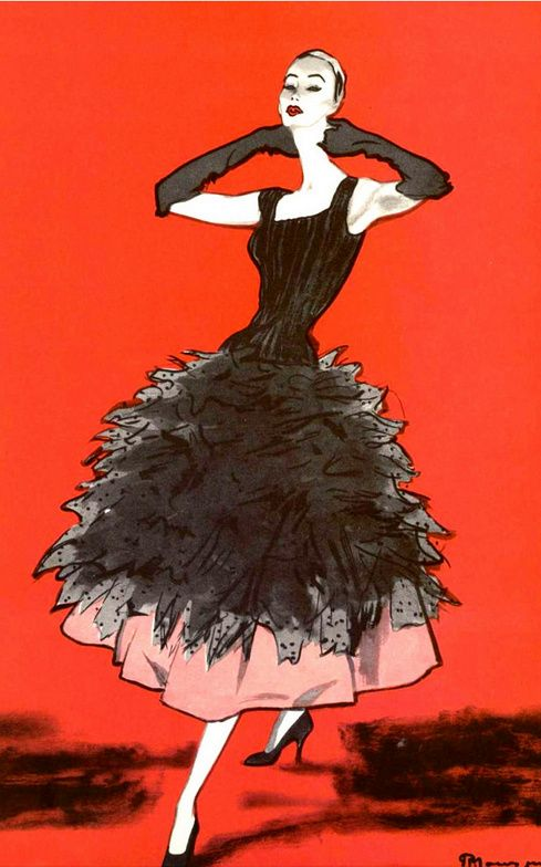 1955 Balenciaga's ruffled lace evening dress as illustrated by Pierre Mourgue