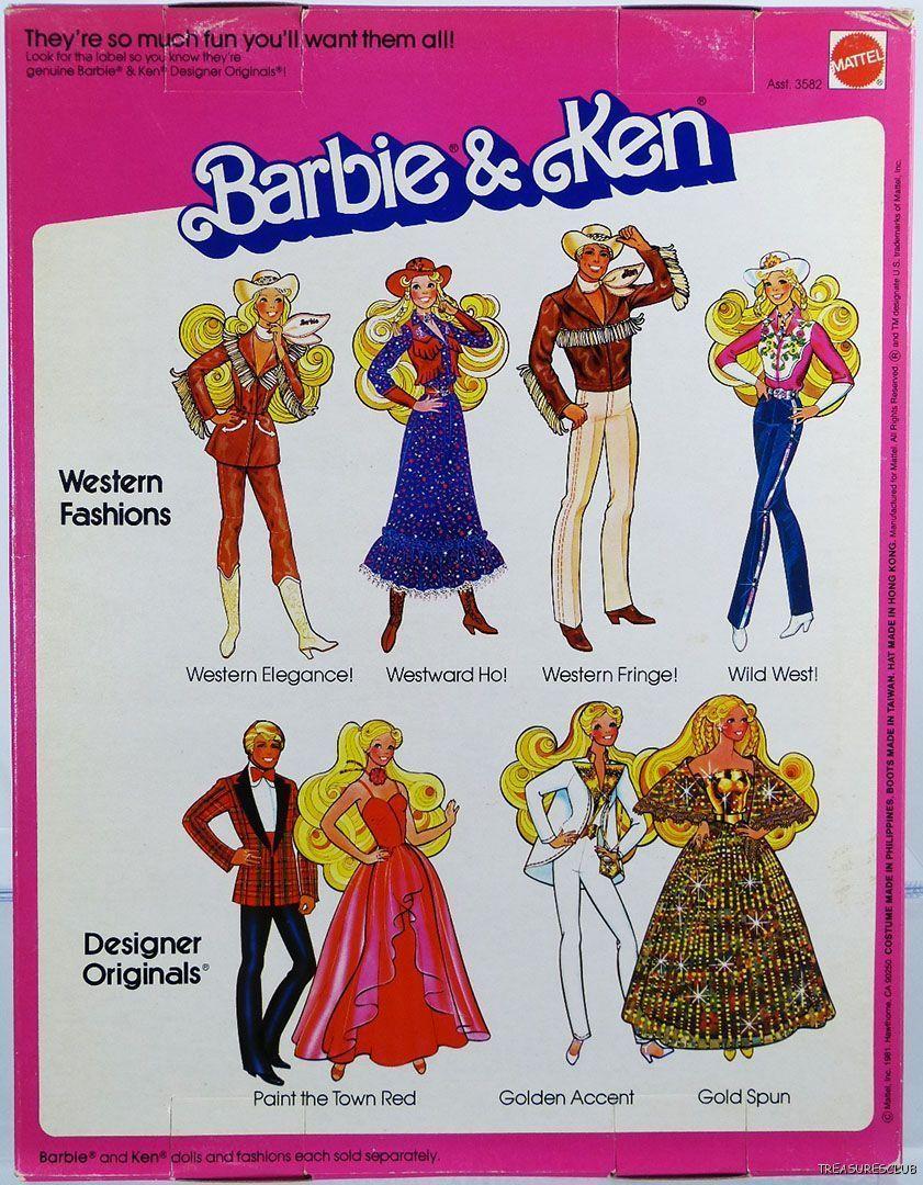 Barbie Ken Western Fashions 3577 New Nrfp 1981 Mattel Inc 3 Barbie Barbie And Ken Vintage Barbie Clothes
