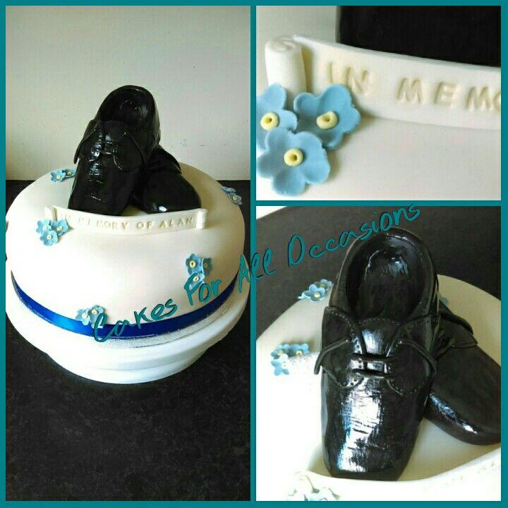 Memorial cake. Mens shoes/ballroom