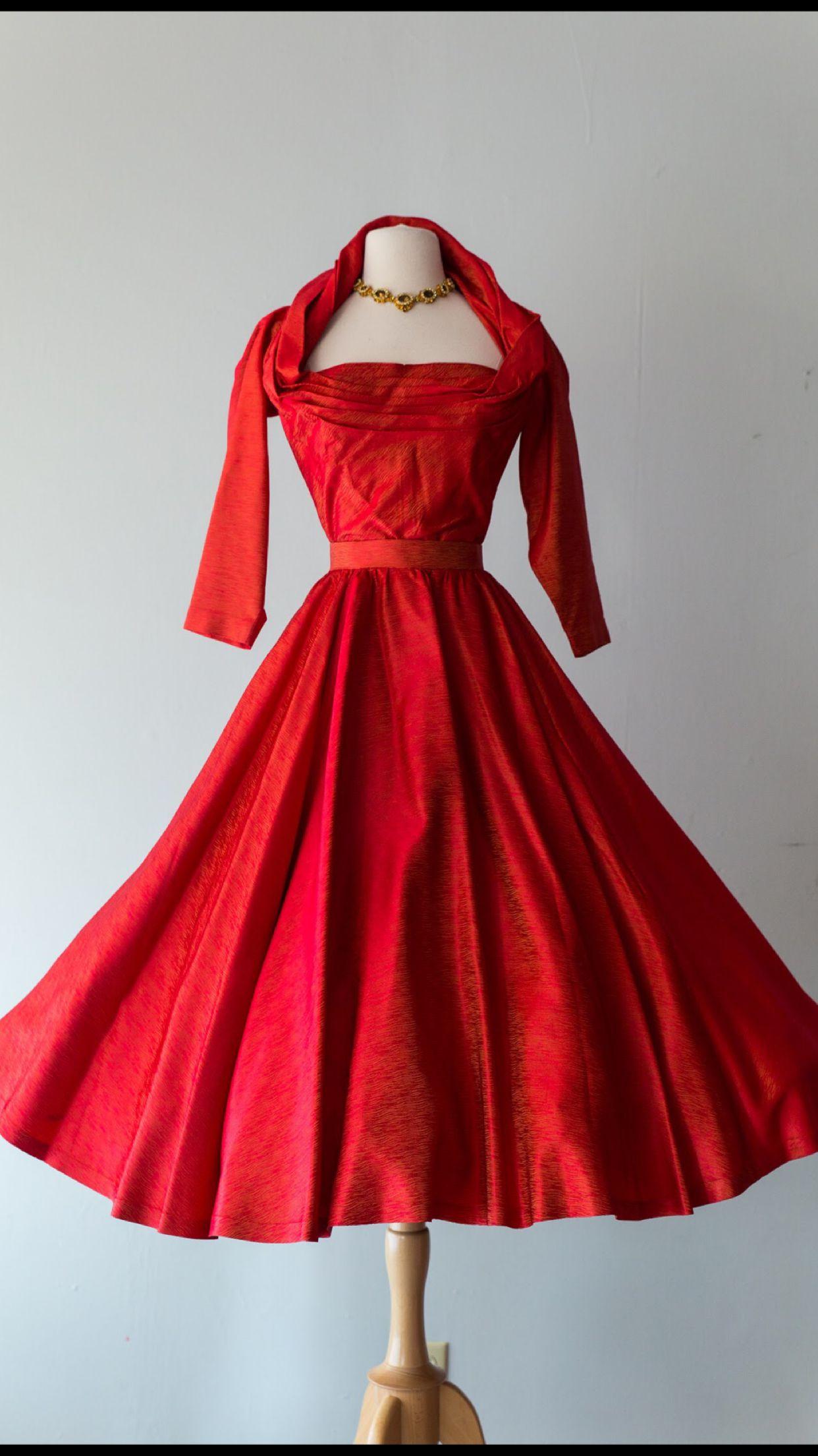 Vintage 1950 S Jean Desses Designed Red Cocktail Dress Xtabay Vintage Xtabayvintage Com Vintage Red Dress Dresses Vintage Clothing Boutique [ 2208 x 1242 Pixel ]