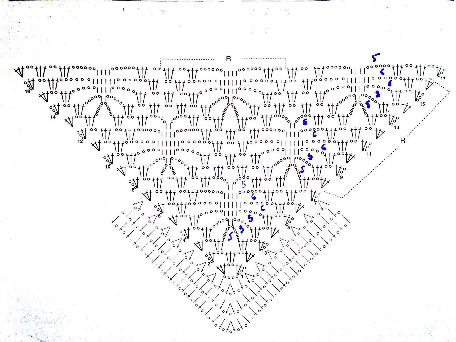 Gráfico patrón toquilla de ganchillo negra | CAPES,CAPELETS,COLLARS ...