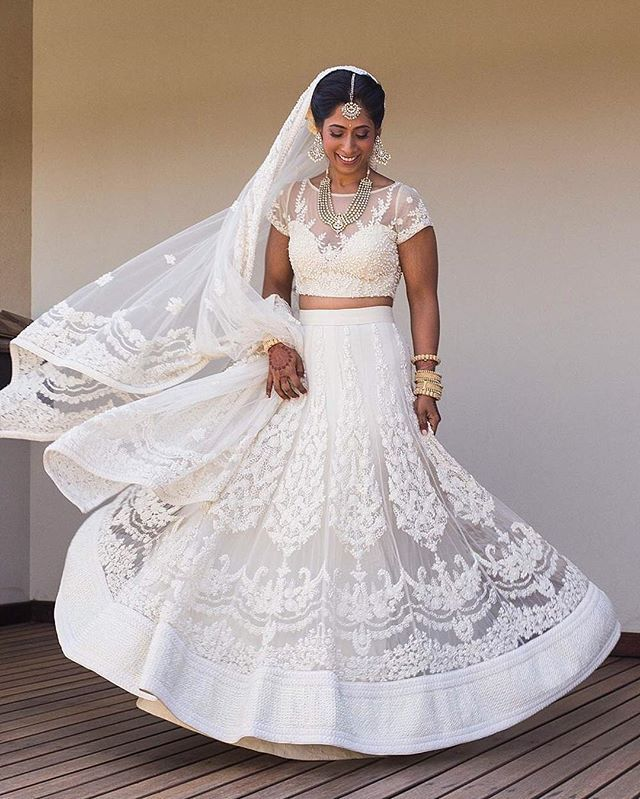 Bride Anusha Wore A Summery Floral White Lehenga For Her