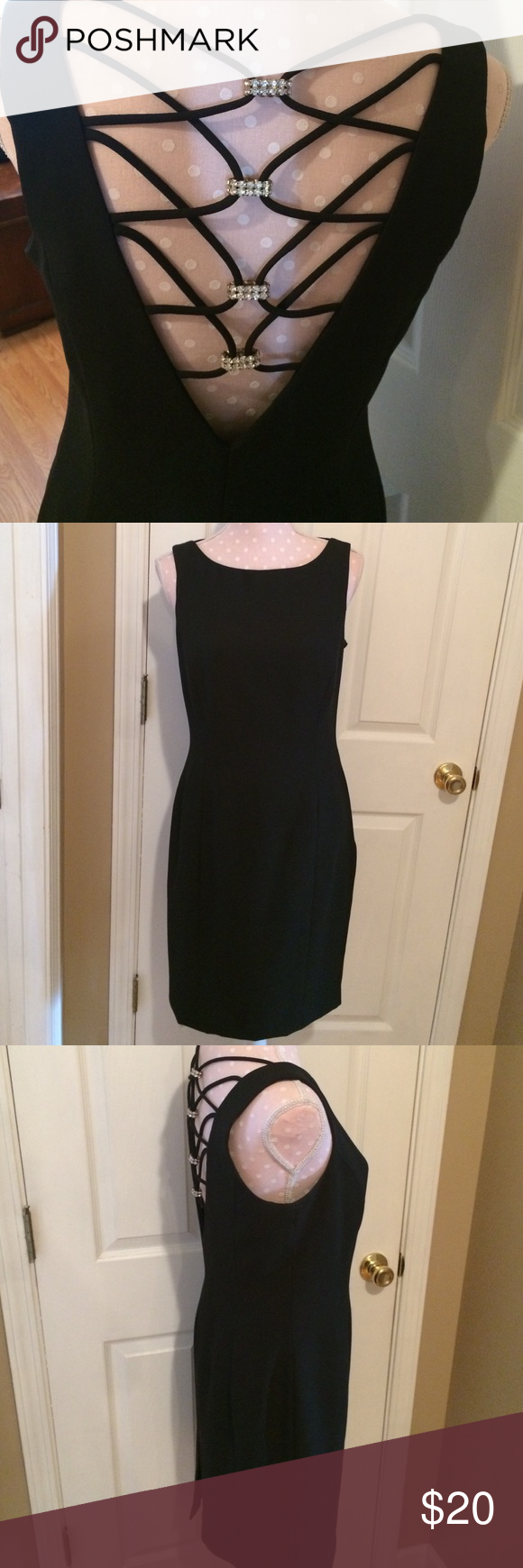 """Beautiful black dress The back is stunning. Has straps that gather with rhinestones in middle. Zips on side and fully lined. Measures 29.5"""" from armpit to hemline. Bust measures approx 17"""". Absolutely beautiful dress in excellent shape. Pic one is of back Dresses"""