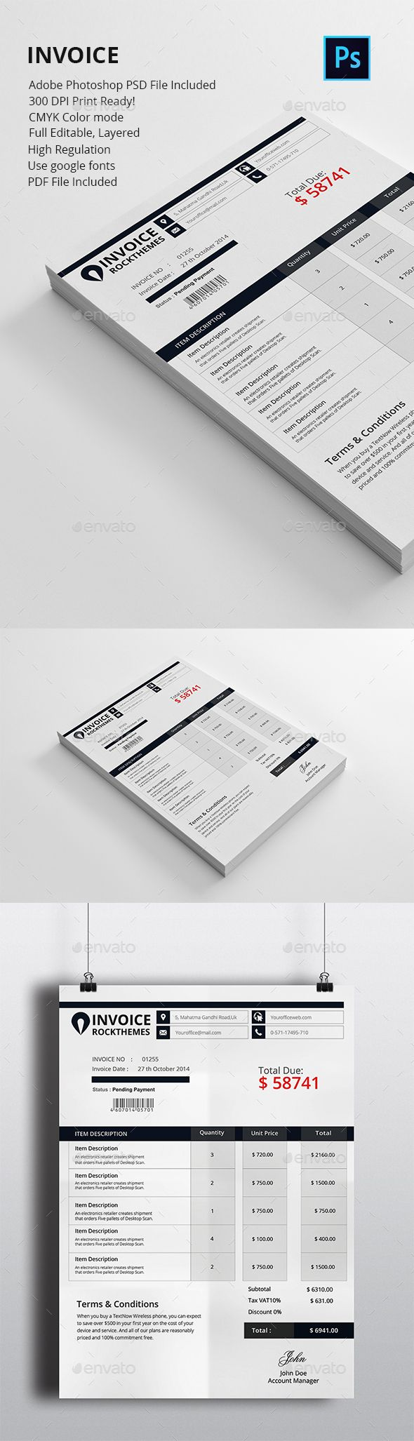 Invoice Template PSD. Download here: https://graphicriver.net/item/invoice/17402931?ref=ksioks