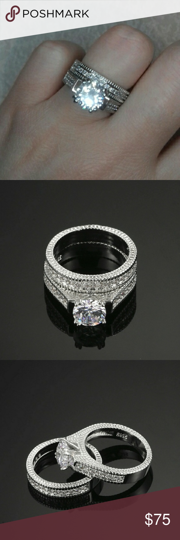 Sterling Silver Big Diamond Wedding Ring Band Set