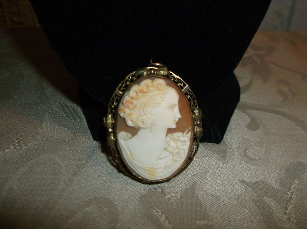 VTG. CARVED SHELL VICTORIAN CAMEO WOMAN 1/20 12KT OVAL BROOCH/PENDANT COMBO~ #CameoWomanVictorian