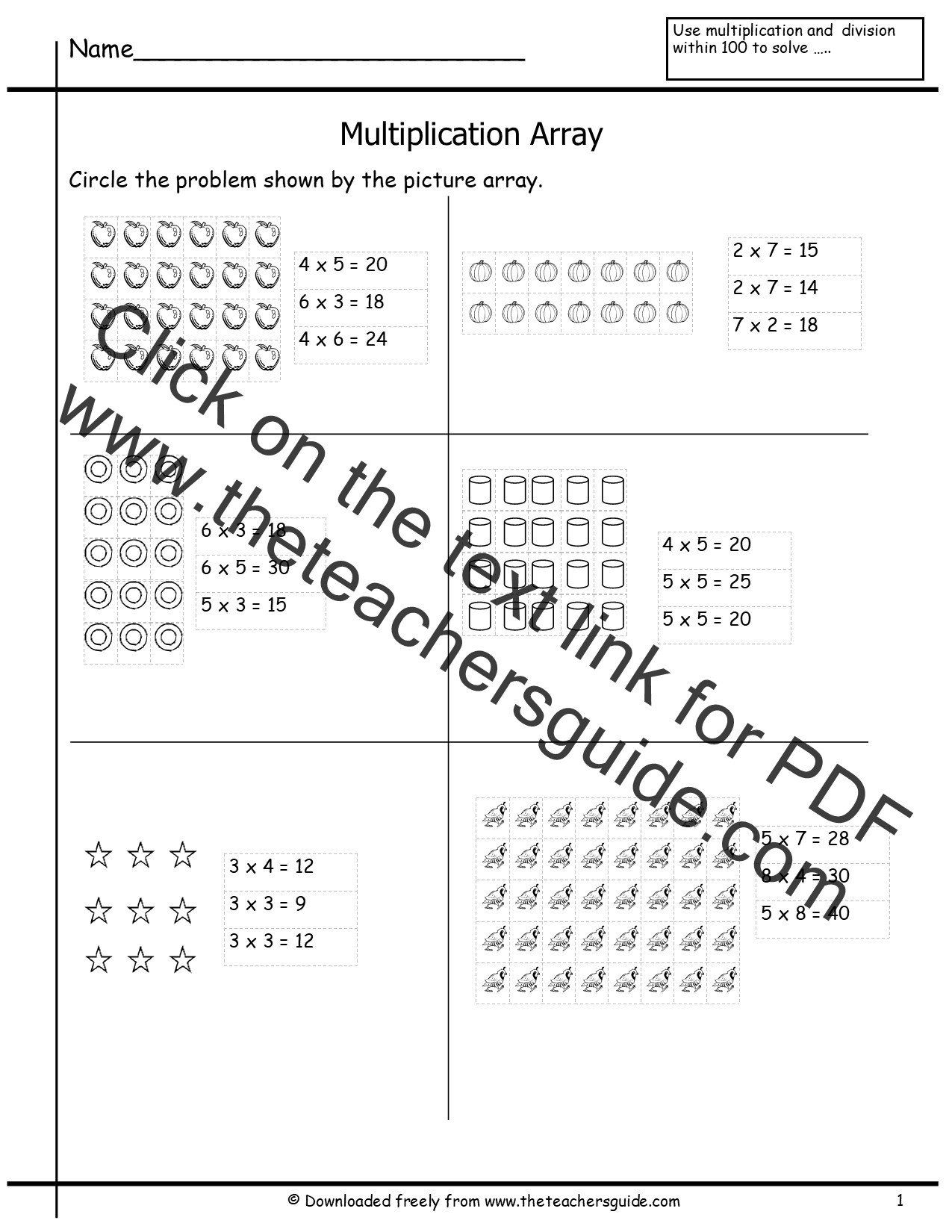 Addition Arrays For Second Grade Arrays Worksheets In