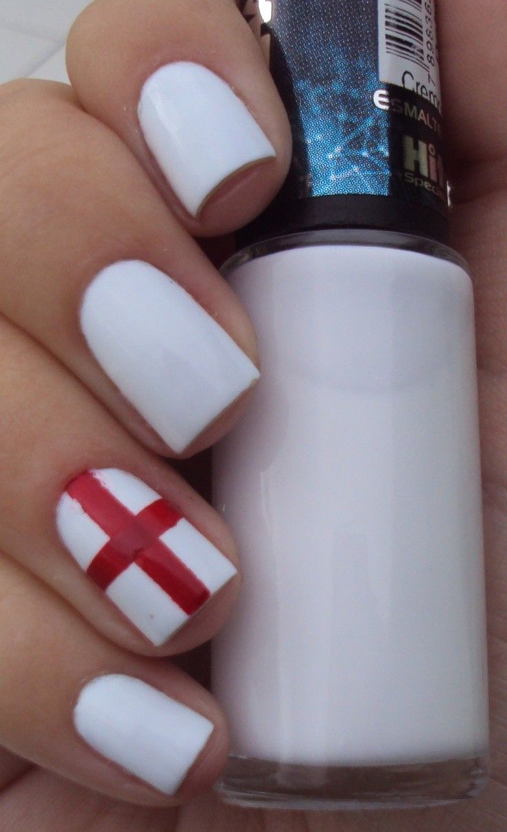 England Flag Nail Arts For Brasil 2014 World Cup 2014 World Cup