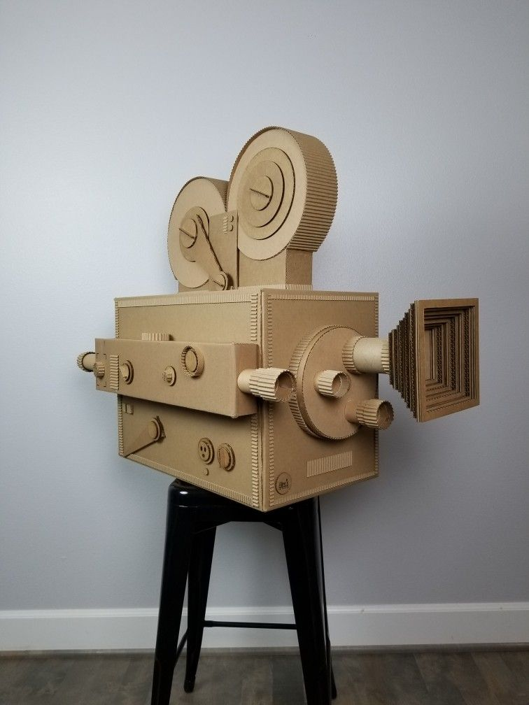 Vintage Movie Camera Made Of Recycled Cardboard. Handmade
