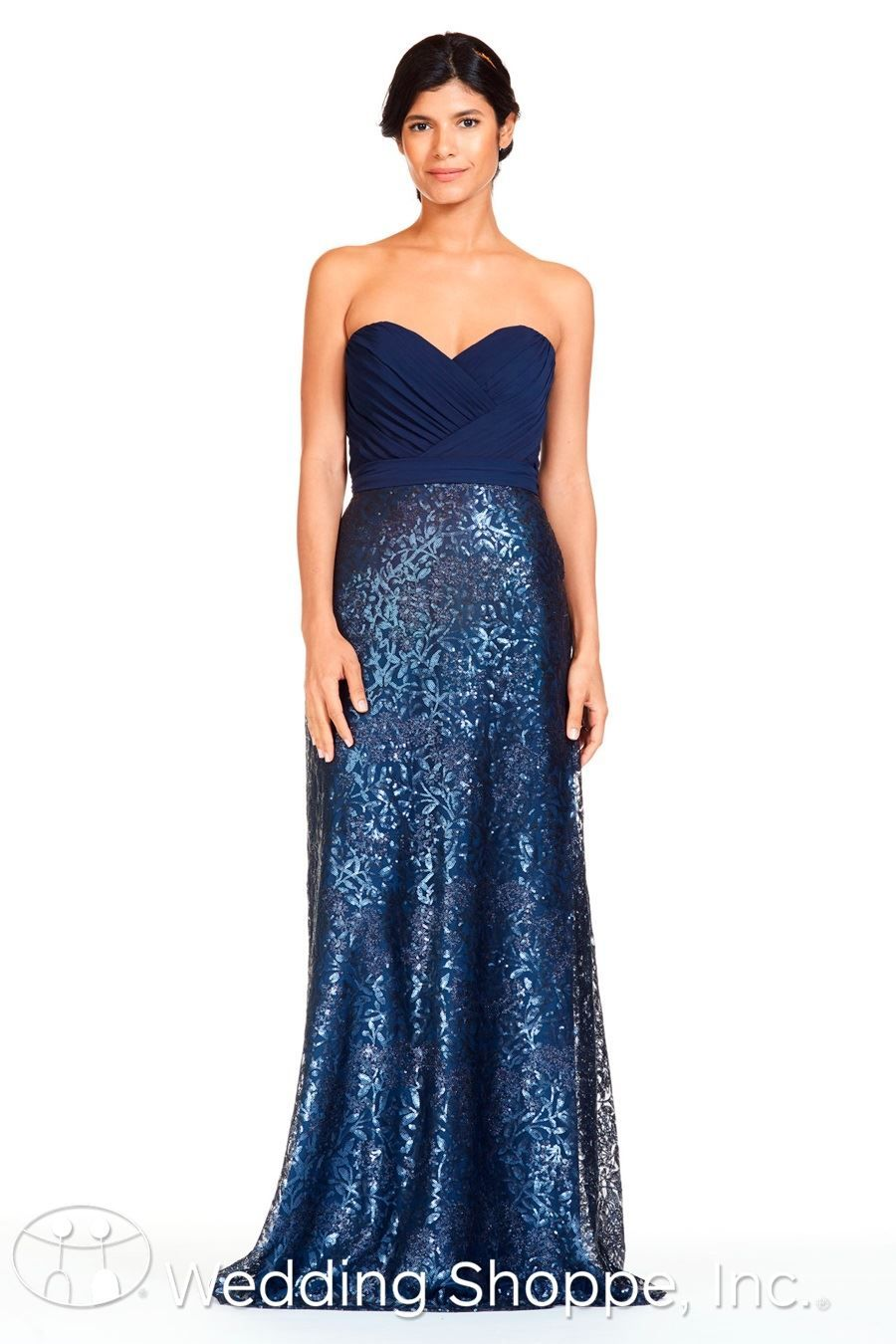 e38a6a361bad3 Luxe chiffon and sequin fabric gown with sweetheart neckline and side  pockets | Bari Jay Bridesmaid Dress 1810 | The Wedding Shoppe