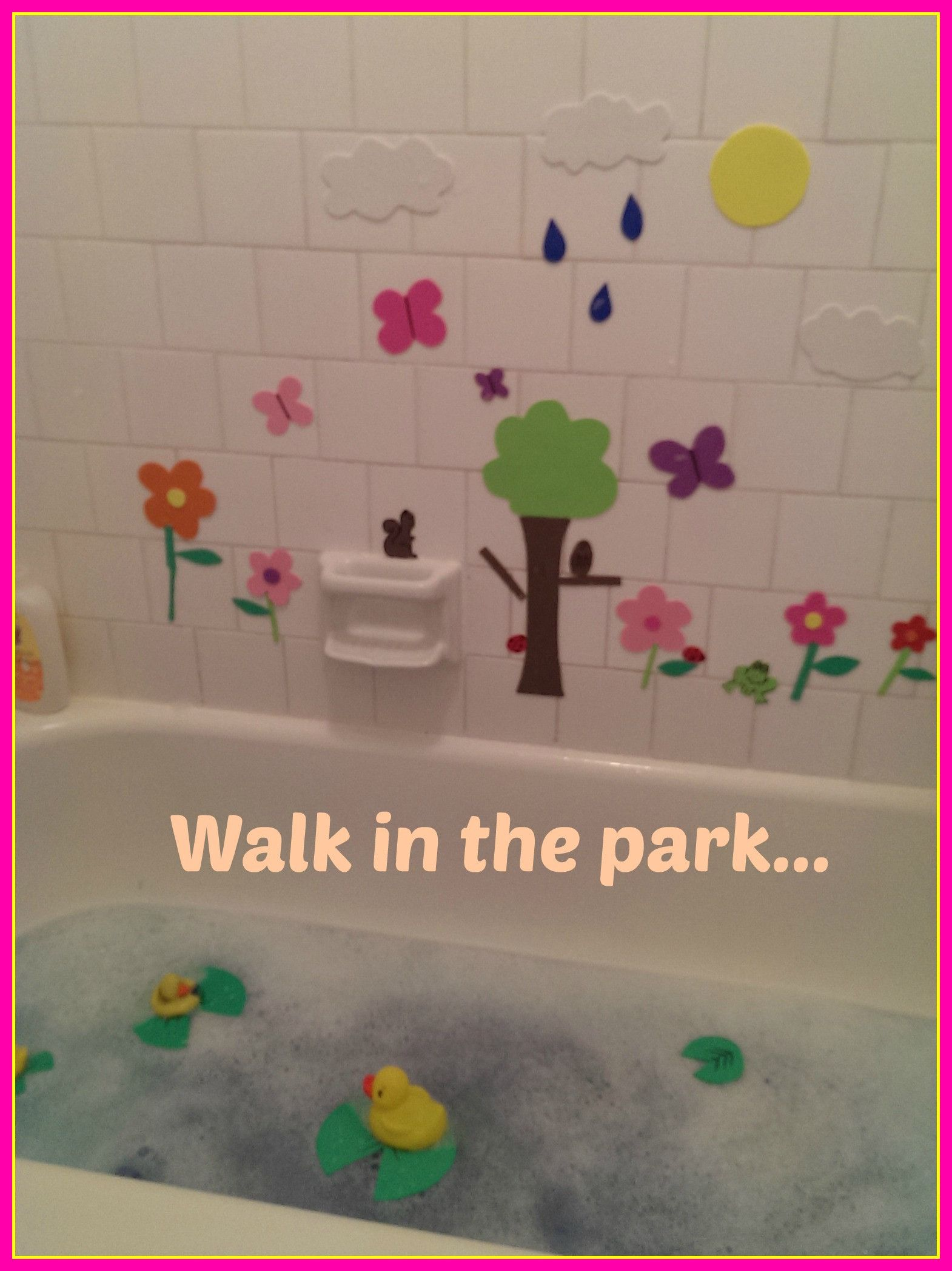 """Foam """"stickers"""" for the bath tub. Countless possibilities! Park themed, beach themed, alien themed, generic shapes, western, urban, whatever you can think of! Just cut out craft foam, dip them in water and stick them to the side of the tub. Inexpensive to start and totally reusable. Clean up is easy! Just let them dry and sweep them off the wall and back into their bag. We love them! So great for the kids imagination. - The Pinner Mom"""