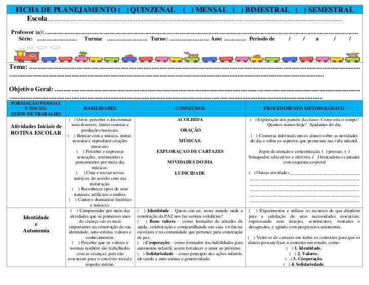Ficha Para Planejamento Com Imagens Projeto Educacao Infantil