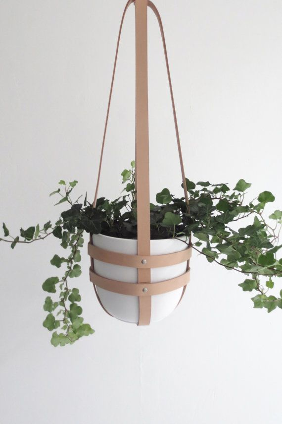 Modern Hanging Plant Holder In Natural Leather Ceiling Planter Minimalist Plant Hanger Vegetable Tanned Leather Incl White Plastic Pot Hanging Plants Plant Hanger Hanging Plant Holder