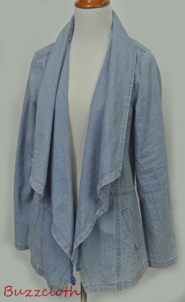 NEW Max Jeans Soft Chambray Denim Drape Front Jacket Size Small #MaxJeans #Denimjacket