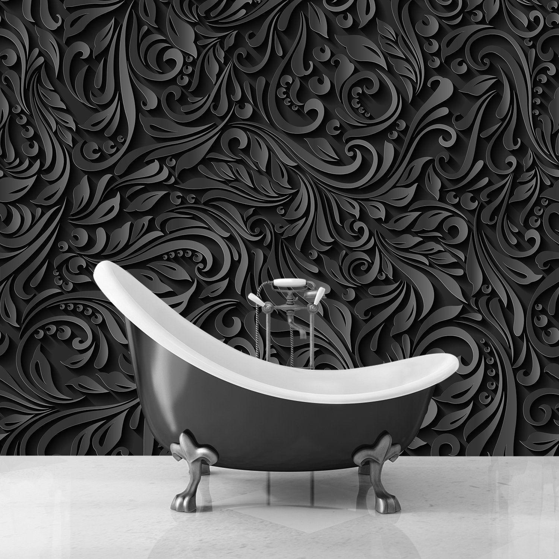 Dark Floral Wallpaper 3d Black White Wallpaper Luxury Wall Etsy Black And White Wallpaper White Wallpaper Floral Wallpaper