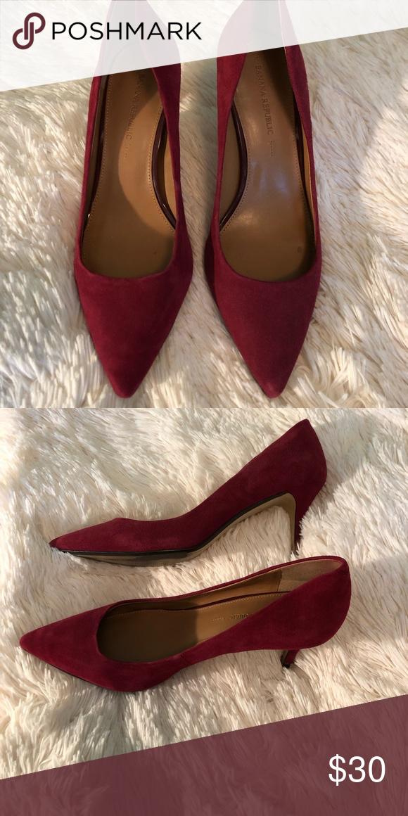 "95ed12a8b27c1 Banana Republic kitten heel pumps 2"" heel Red suede Only worn a few times Banana  Republic Shoes Heels"