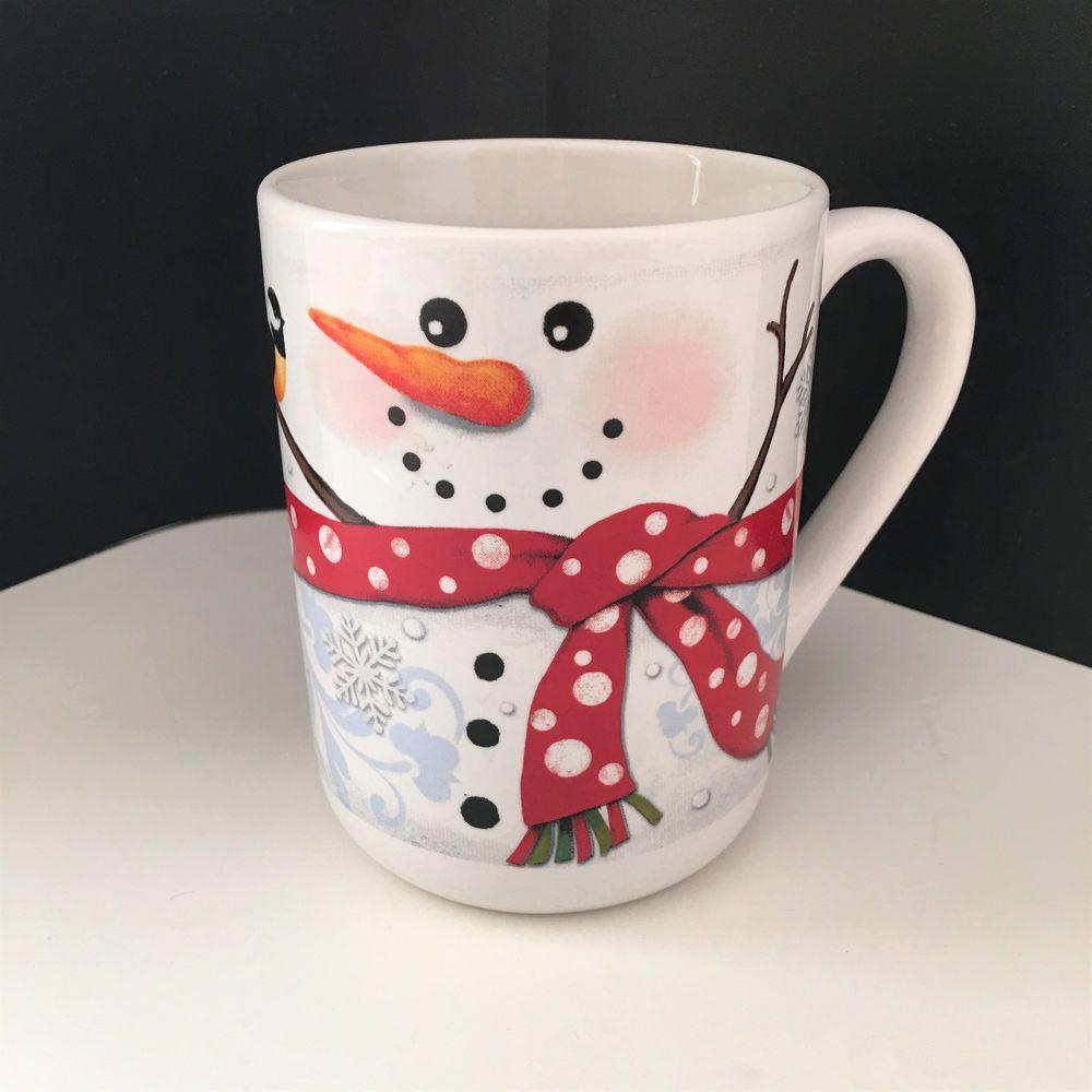 Michaels Snowman Snowflakes Winter Birds Polka Dots Blue Red White Coffee Mug