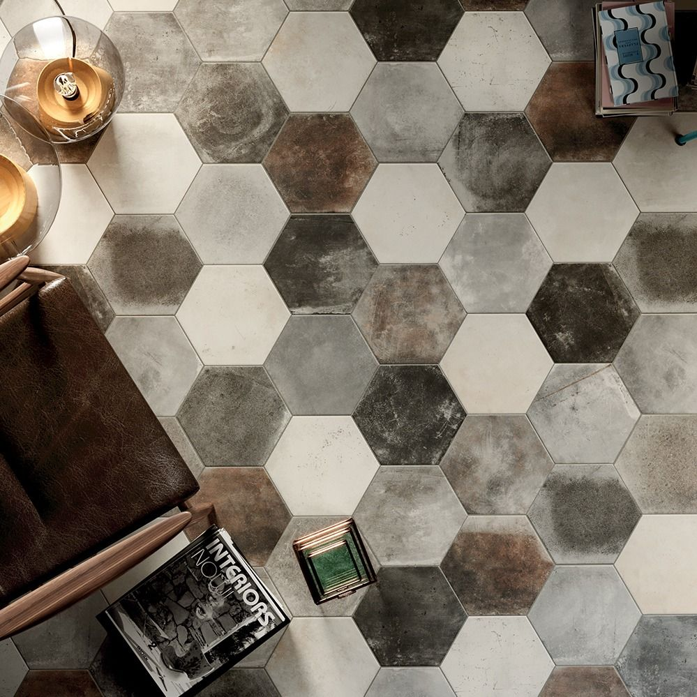 Carrelage Sol Hexagonal Effet Carreaux De Ciment 24x27 7 Dust Grey
