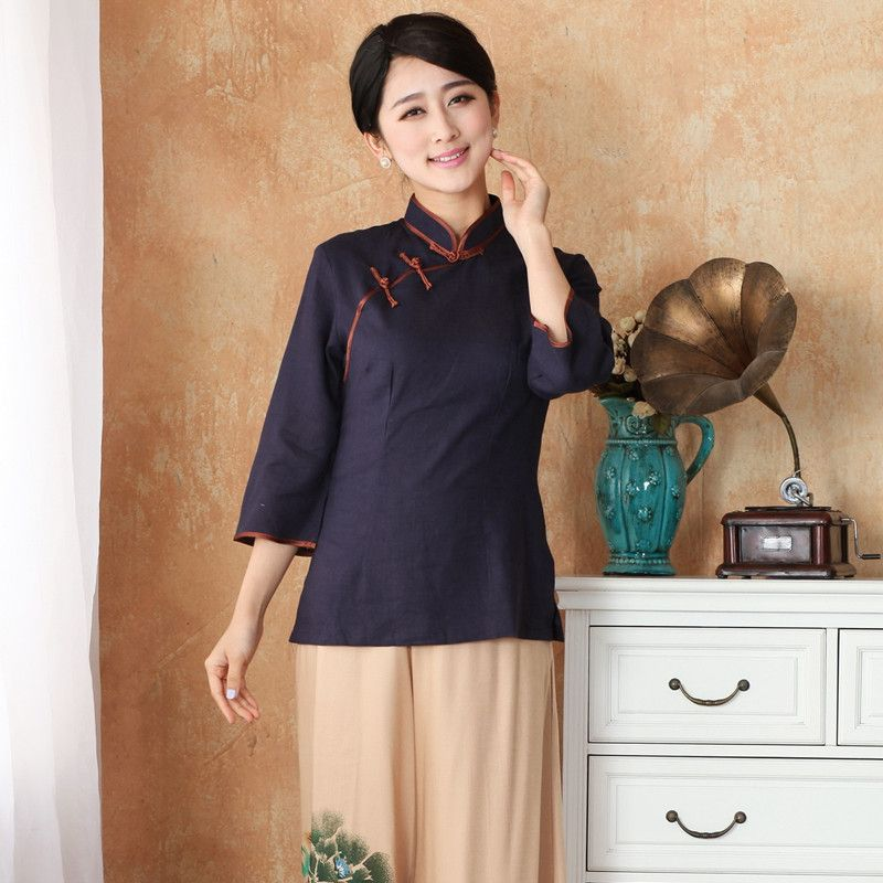 8d50bc5f10332 New Arrival Chinese Style Cotton Linen Female Tang Suit Tops Blouse  Traditional Three Quarter Shirt Plus Size S TO 4XL 2382 Price  53.30  tshirt