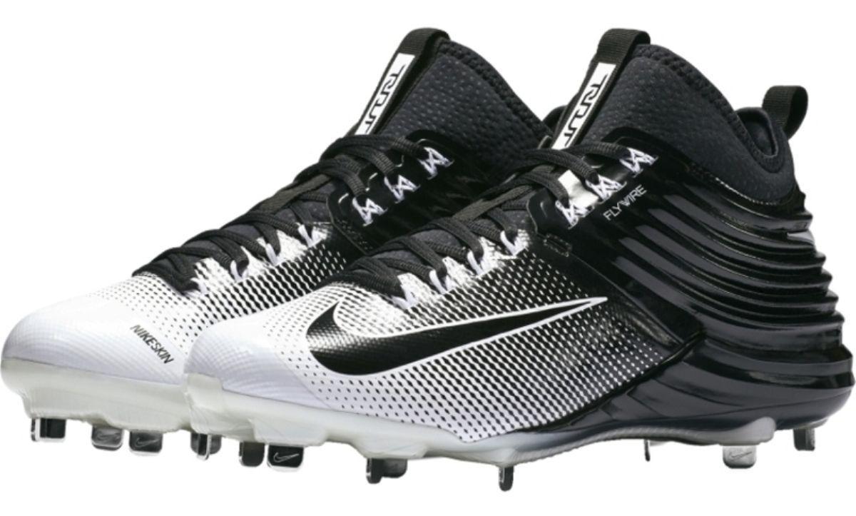 New Nike Lunar Trout 2 Metal Baseball Cleats sz 8 Black White 807127-010
