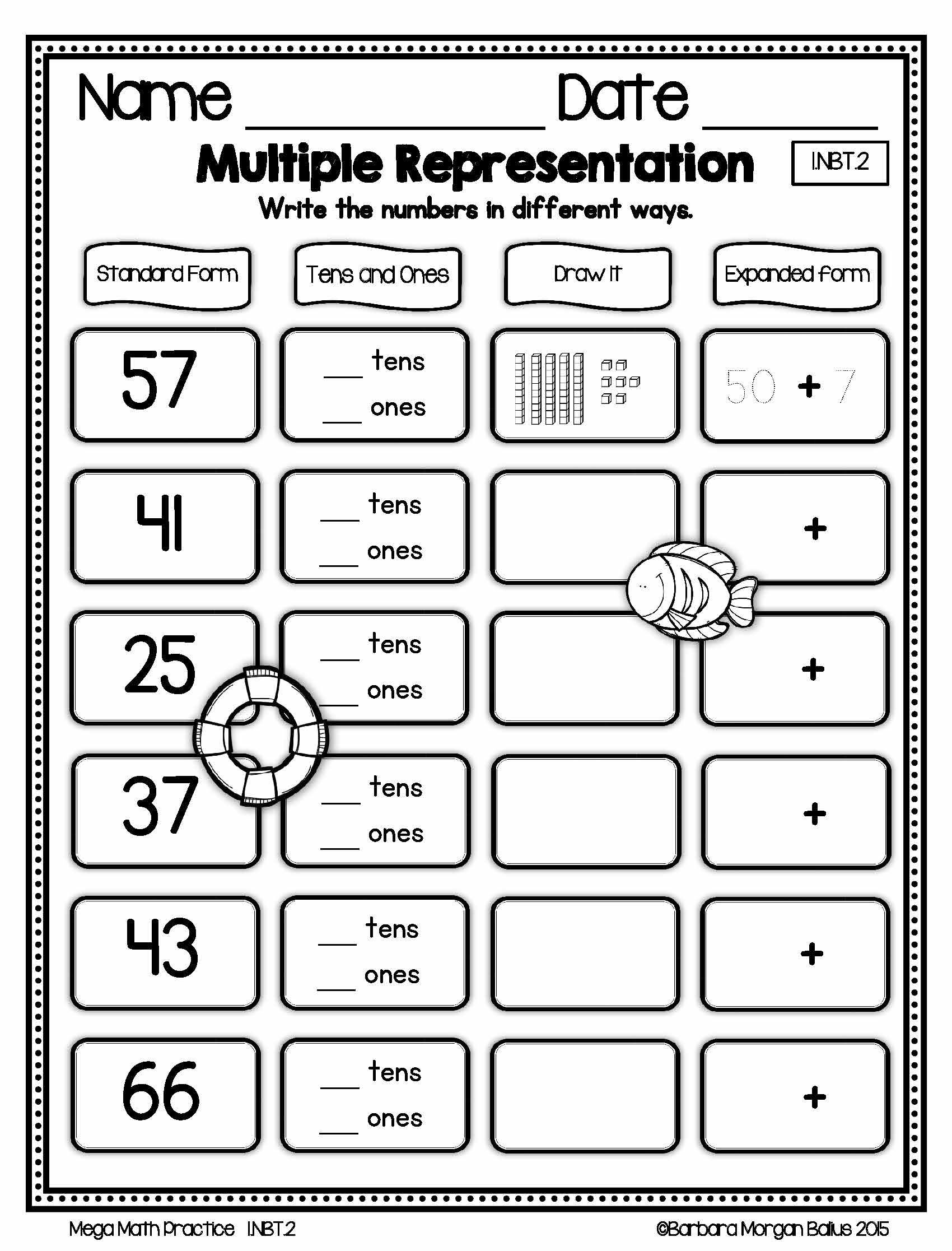 Number Sense Morning Work Place Value First Grade Math Mega Practice 1 Nbt 2