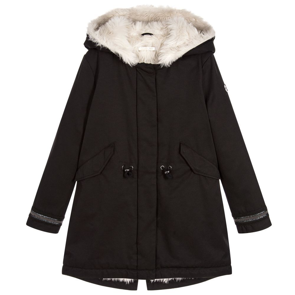 Girls Black Cotton Parka | Liu jo and Kids online