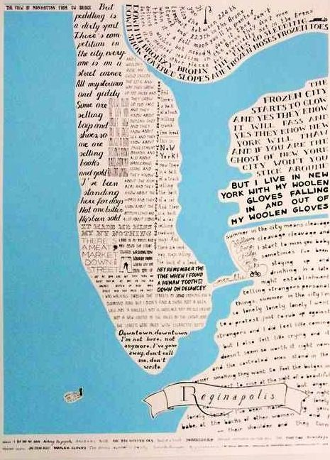 Reginapolis art print a map of New York City in lyrics by Regina