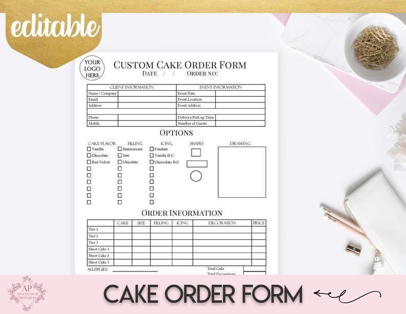 Custom Cake Order Form, Bakery Forms, Cake Order Form