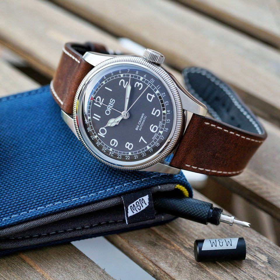 4eb2bb129ba Oris Big Crown Pointer Date on the Berit strap from the Crown and Buckle  Black Label collection   Watchbands