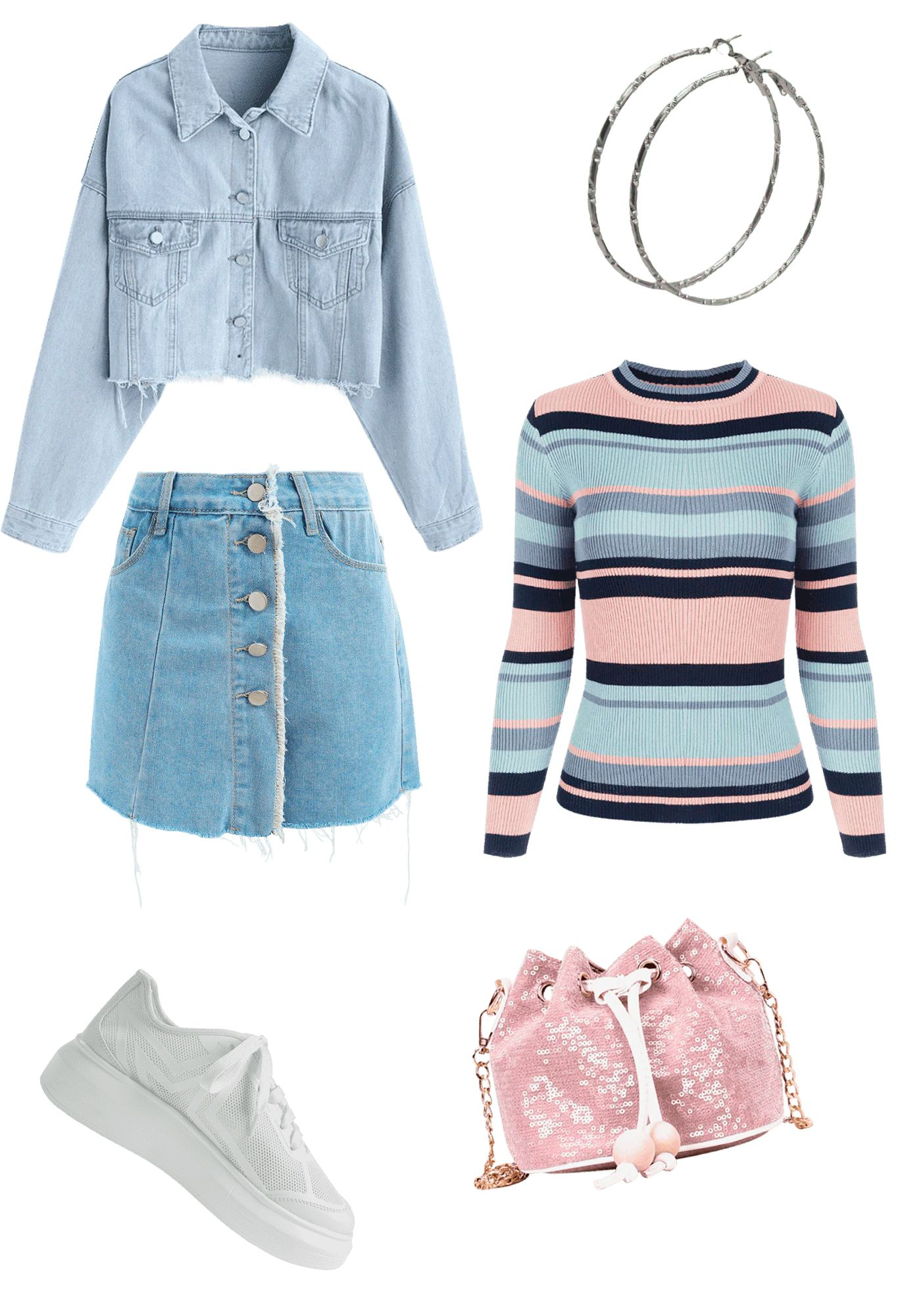 Denim Jacket And Shorts Collection Frayed Crop Denim Jacket Light Sky Blue 37 99 Jackets Color Block Ribbed Pullover Swea Clothes Fashion Outfits Fashion [ 2000 x 1400 Pixel ]