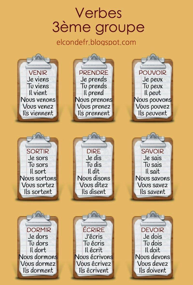 Verbes troisième groupe   mois   Pinterest   Französisch