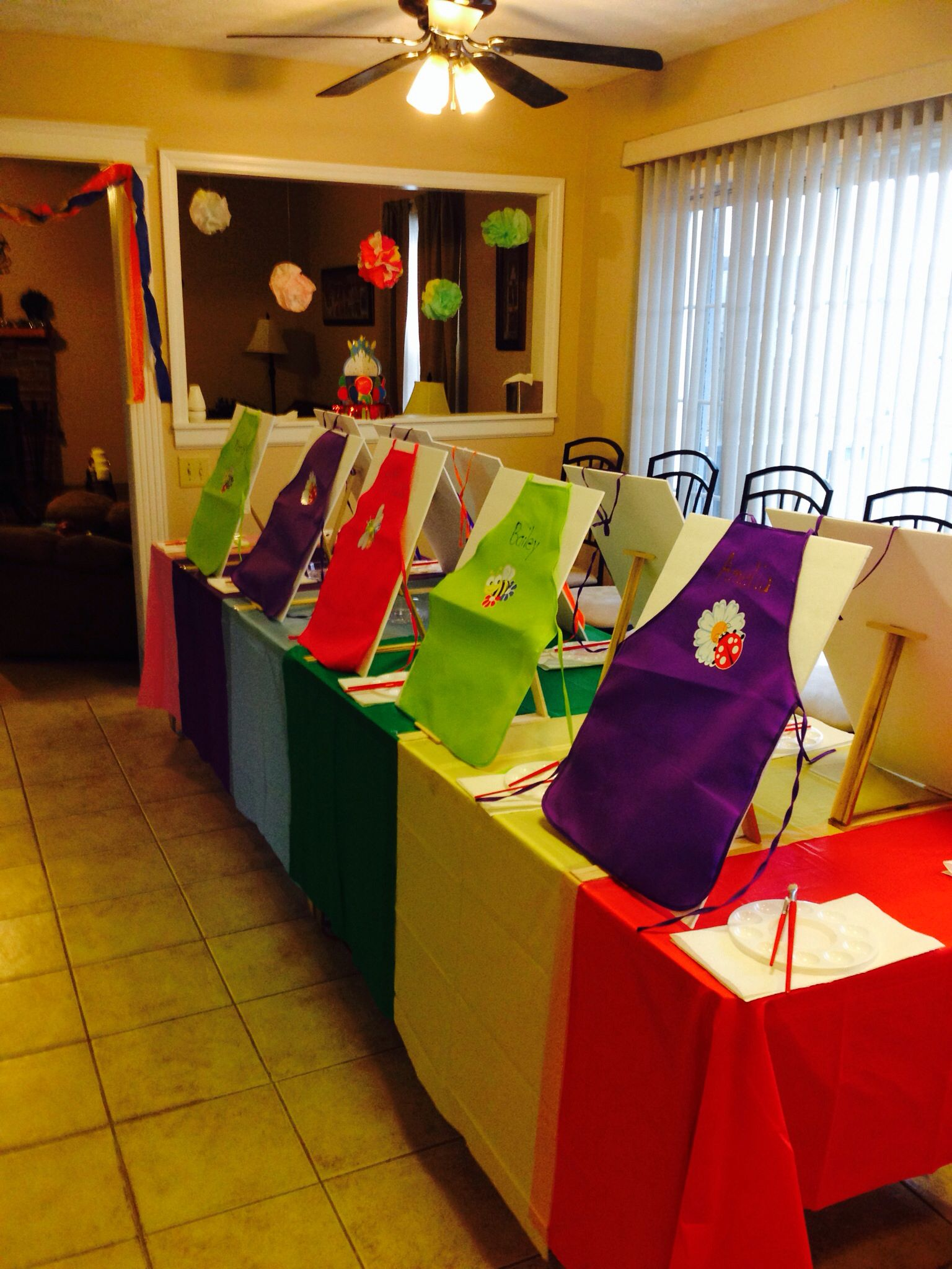 Art party for my 7 yr old daughter painting birthday