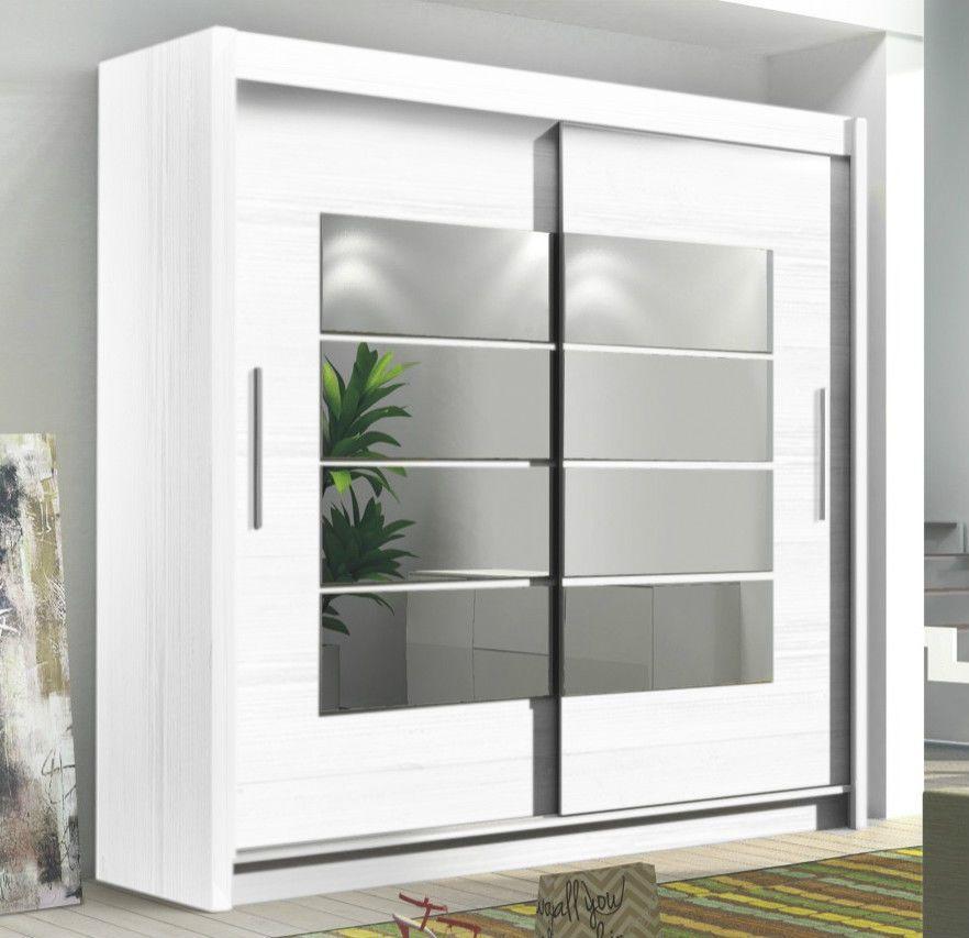 INSTRUMENT ROOM4 WHITE Modern Large Wide Tall 2 Sliding Door Mirrored Wardrobe