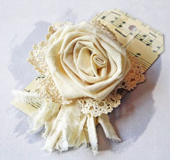 Tattered Rose Pin Handmade from Vintage by CottonRidgeEmporium
