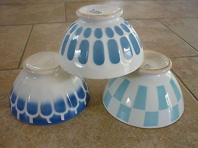 3 bol ancien decor bleu blanc