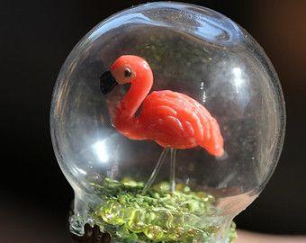 Flamingo on green grass snow globe ring glass bubble ring terrarium ring